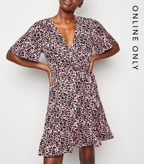 d5703cbaed1 ... Pink Leopard Print Mini Wrap Dress ...