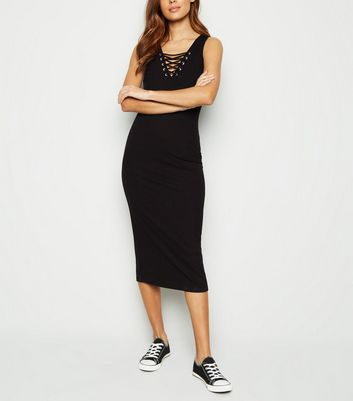 Black Ribbed Lattice Jersey Midi Dress