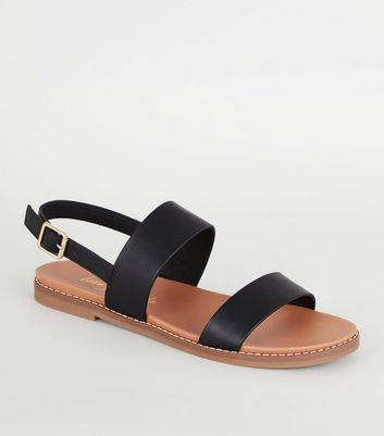 Black Leather-Look 2 Strap Footbed Sandals