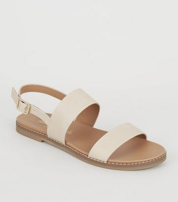 Nude Leather-Look 2 Strap Footbed Sandals