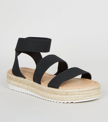 Black Espadrille Sport Sole Flatform Sandals