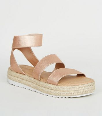 Rose Gold Espadrille Sport Sole Flatform Sandals