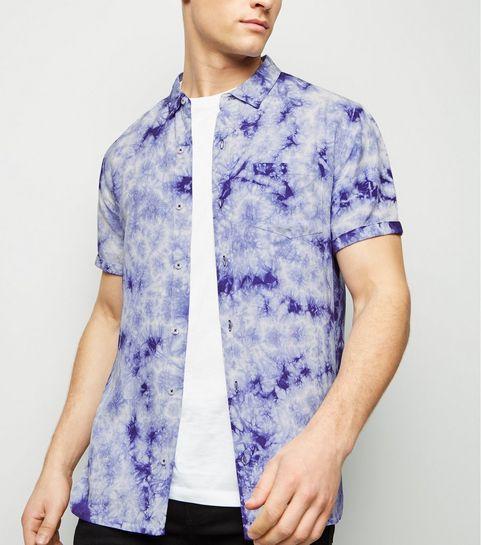 03db641a245 ... Blue Tie Dye Short Sleeve Shirt ...