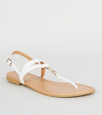 White Leather-Look Infinity Ring Flat Sandals
