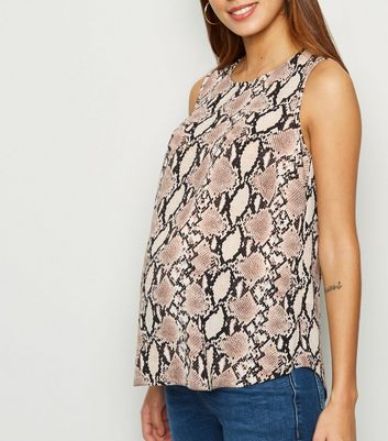 Maternity Pink Snake Print Sleeveless Top