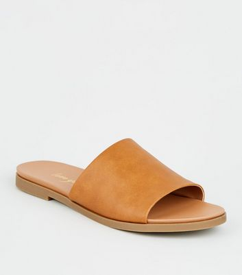 Tan Leather-Look Strap Footbed Sliders