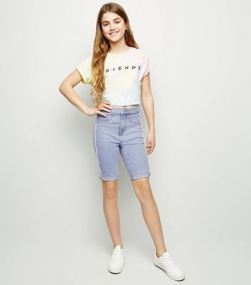Girls Pale Blue Side Piped Denim Shorts
