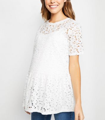 Maternity Off White Lace Peplum Top