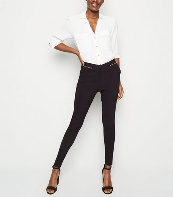 Tall Black Zip Front Slim Stretch Trousers