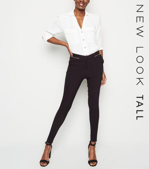 e9b53da6f167 ... Tall Black Zip Front Slim Stretch Trousers ...