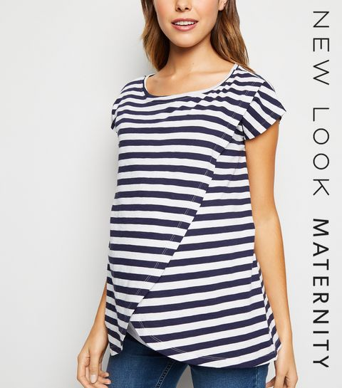 ee42d495fdc ... Maternity Navy Stripe Wrap Nursing Top ...