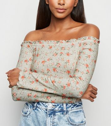Green Floral Ribbed Frill Trim Bardot Top