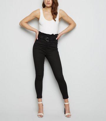 Black Paperbag Belted Skinny Jeans