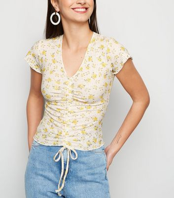 White Floral Ribbed Ruched Top