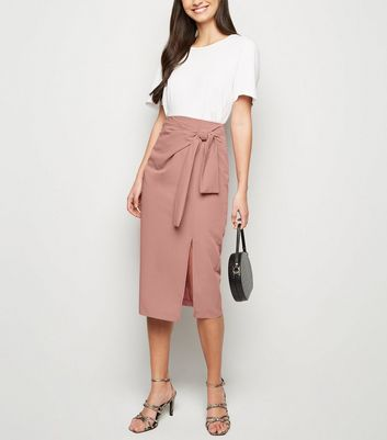 Camel Tie Side Midi Skirt