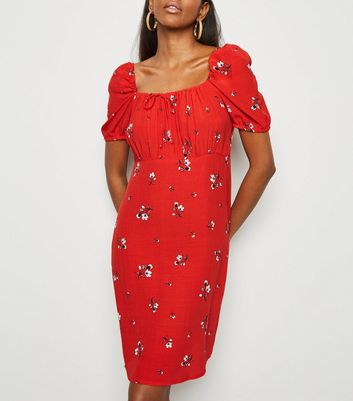 Red Ditsy Floral Tie Neck Milkmaid Dress