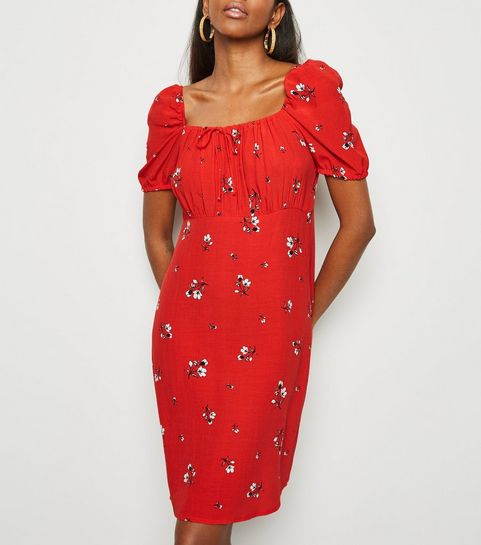 27452b3522e6d ... Red Ditsy Floral Tie Neck Milkmaid Dress ...
