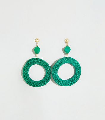 Green Woven Raffia Disc Earrings