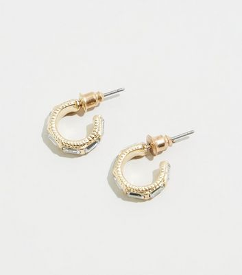 Gold Gem Mini Hoop Earrings