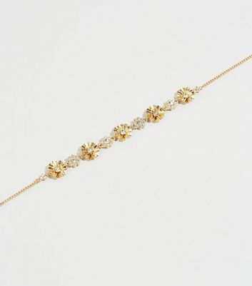 Gold Flower Diamanté Choker Necklace