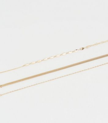 3 Pack Gold Chain Choker Necklace