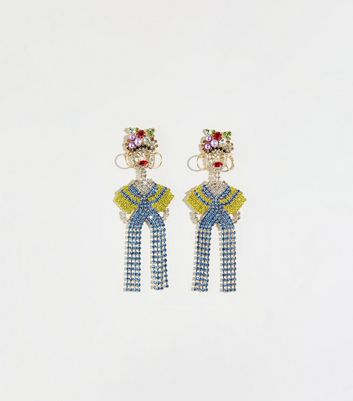 Multicoloured Diamanté Lady Earrings
