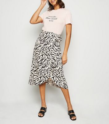 Brown Tiger Print Wrap Midi Skirt
