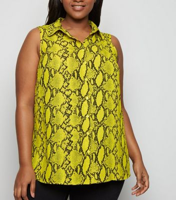 Curves Yellow Snake Print Sleeveless Shirt