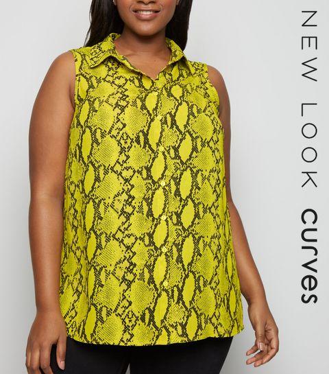 3dc1021b9aacd1 ... Curves Yellow Snake Print Sleeveless Shirt ...
