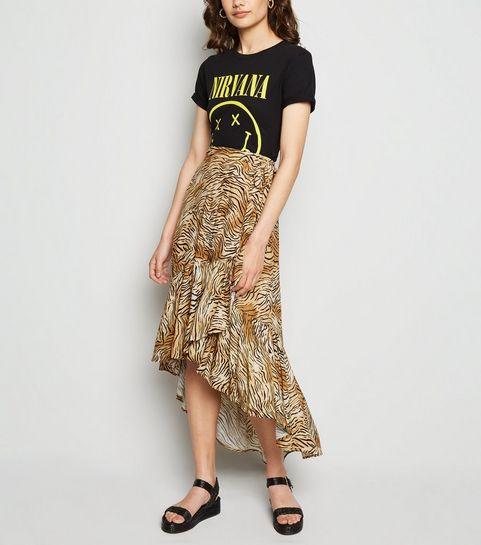 74d25e258 ... Brown Tiger Print Ruffle Midaxi Wrap Skirt ...