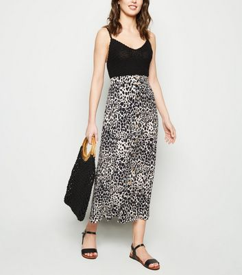 White Leopard Print Button Front Midaxi Skirt