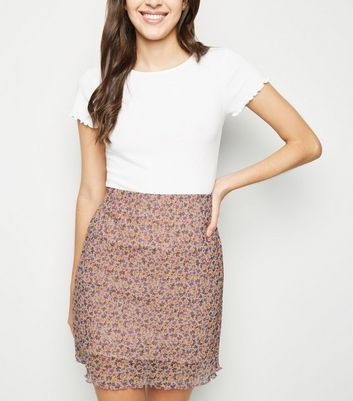 Pink Ditsy Floral Mesh Tube Skirt