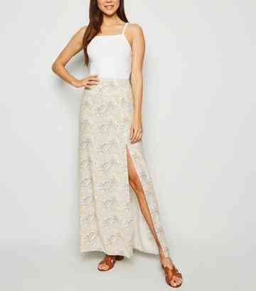 White Paisley Split Hem Maxi Skirt