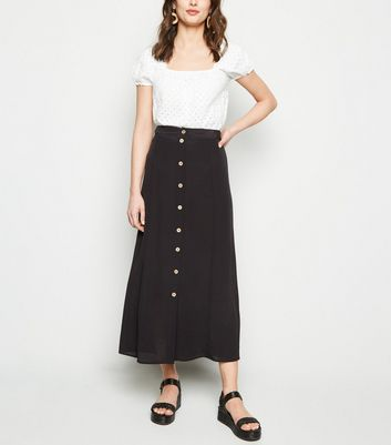Black Button Front Midaxi Skirt