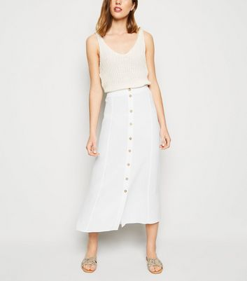 White Button Front Midaxi Skirt
