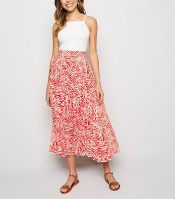 Red Zebra Print Pleated Midi Skirt