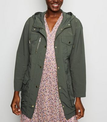Khaki Hooded Utility Parka Jacket
