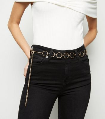 Gold Hammered Circle Chain Belt