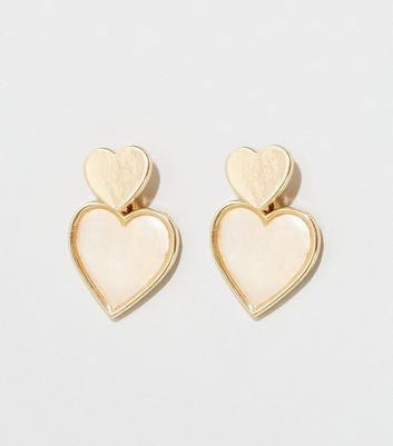 Pale Pink Shell Heart Drop Earrings