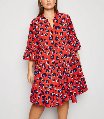 Red Leopard Print Tiered Smock Dress