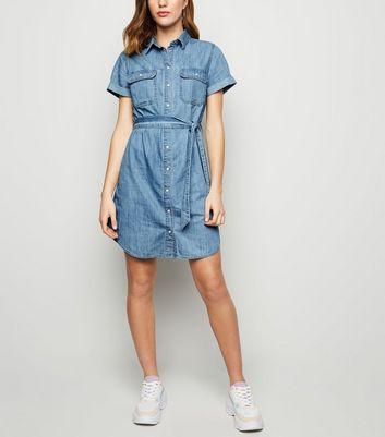 Short Sleeve Denim Shirt Dress