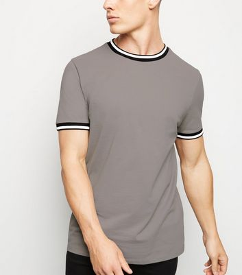 Pale Grey Tipped Pique T-Shirt