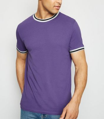 Purple Tipped Pique T-Shirt