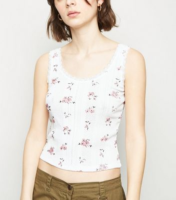 White Ditsy Floral Pointelle Vest