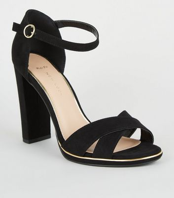 Wide Fit Black Suedette Metal Trim Sandals