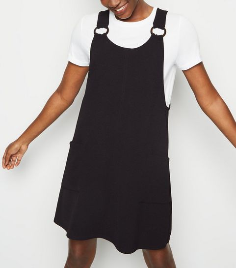 2199a50610 ... Black Crepe Round Buckle Pinafore Dress ...