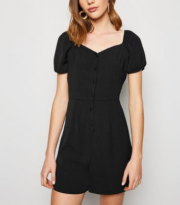 Black Herringbone Button Up Playsuit