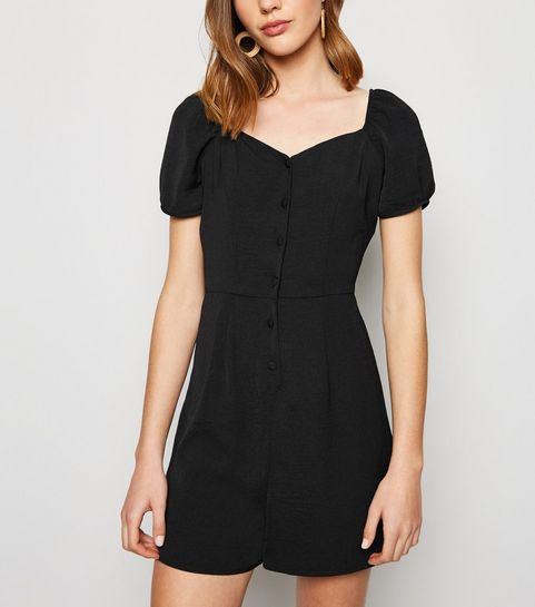 a0d3d6371ed Black Herringbone Button Up Playsuit · Black Herringbone Button Up Playsuit  ...