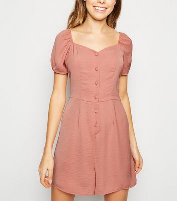 Mid Pink Herringbone Button Up Playsuit