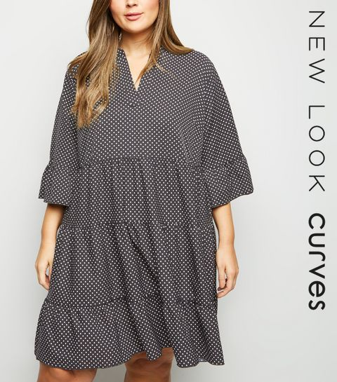 82e545655a ... Curves Black Spot Print Tiered Smock Dress ...